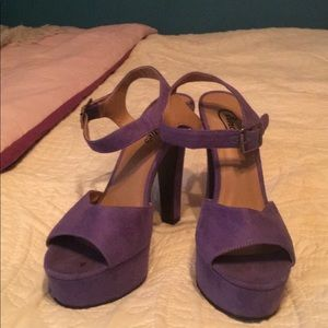 Suede platform heels